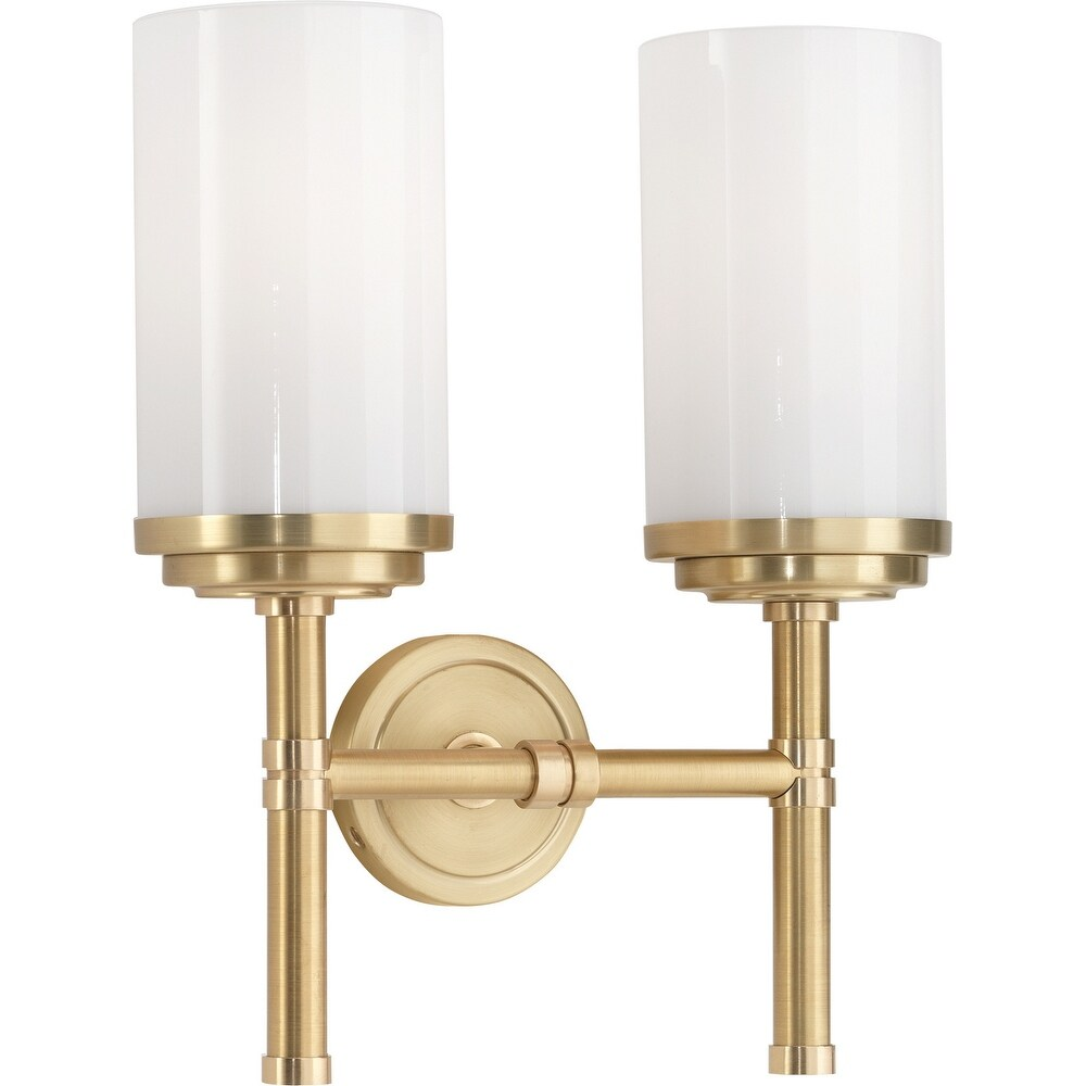 Robert Abbey 1325 Two Light Wall Sconce Halo Brushed Brass/Natural Brass - One Size (One Size - Clear)