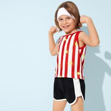 Toddler Boys Stripe Sun Print Tank Top With Track Shorts