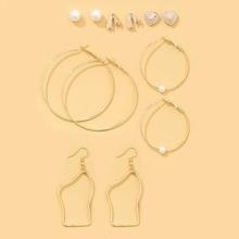 6 Paare Ohrringe mit Kunstperlen Dekor