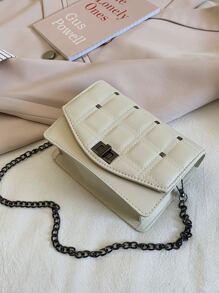 Girls Rivet Decor Turn-lock Chain Bag