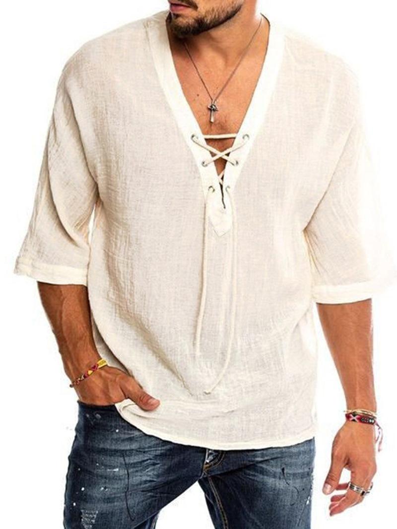 Ericdress Plain V-Neck Summer Straight Shirt