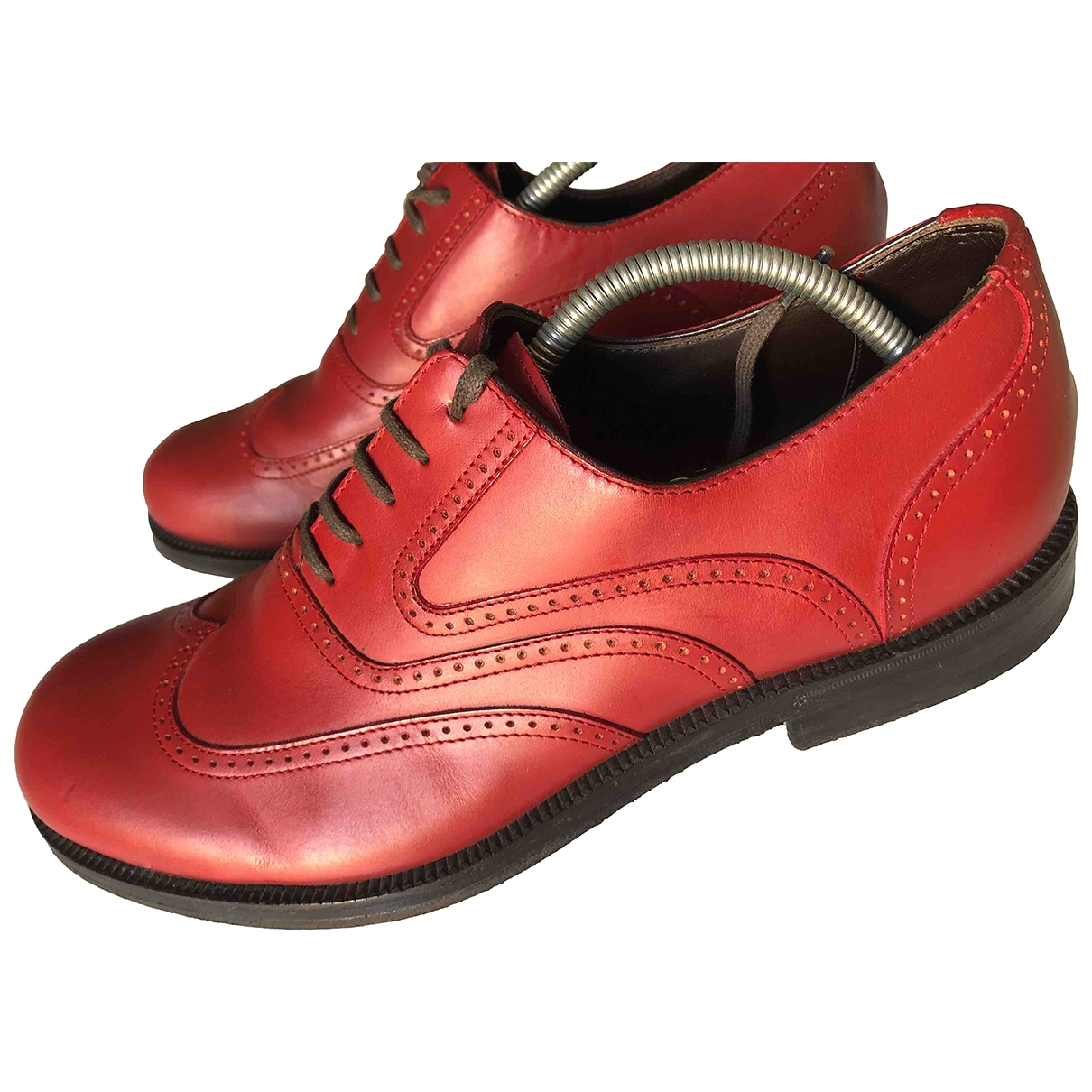 Bottega Veneta \N Red Leather Lace ups for Men 43 EU