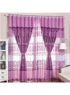 Luxury Purple Peony Printed Custom Living Room Sheer and Lining Curtain Sets