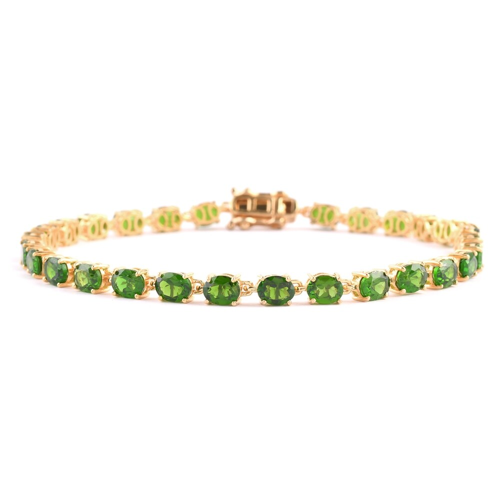 925 Silver Chrome Diopside Tennis Bracelet Size 8 In 8 In Ct 11.2 - Bracelet 8'' (Diopside - Yellow - Green - Green - Bracelet 8'')