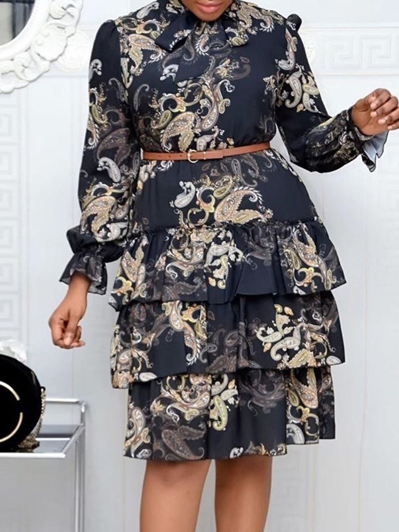 Ericdress Long Sleeve Knee-Length Print Layered Dress High Waist Dress