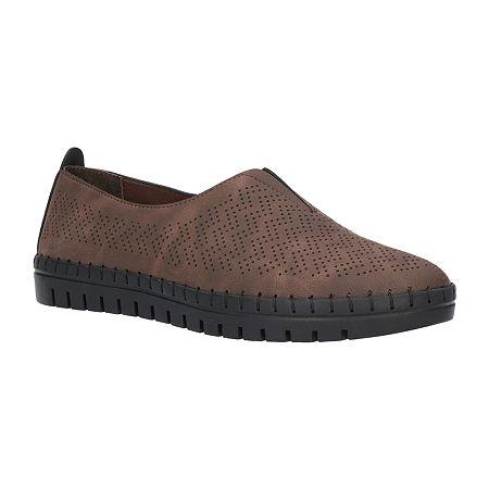 Easy Street Womens Jory Slip-On Shoe, 6 Extra Wide, Brown
