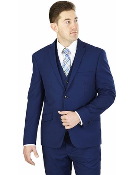 Men's Lorenzo Bruno 3 Piece Cobalt Blue Notch Lapel Side Vents Suit
