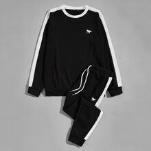 Zweifarbiger Pullover mit Pferd Muster & Jogginghose Set