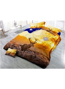 Sika Deer and Sunset Scenery Wear-resistant Breathable High Quality 60s Cotton 4-Piece 3D Bedding Sets