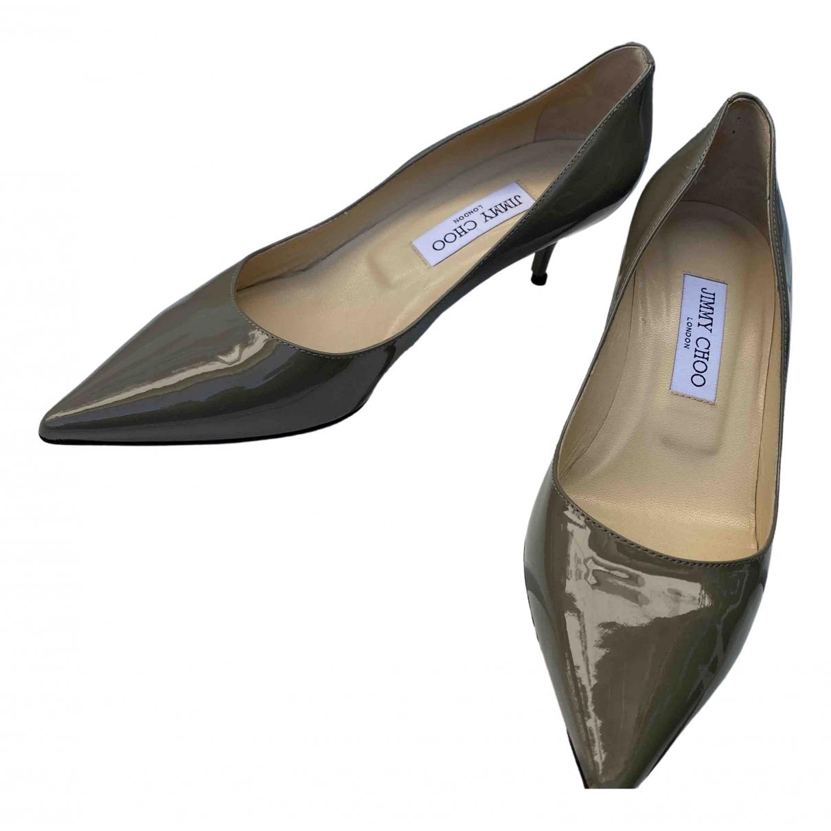 Jimmy Choo \N Khaki Patent leather Heels for Women 39 EU