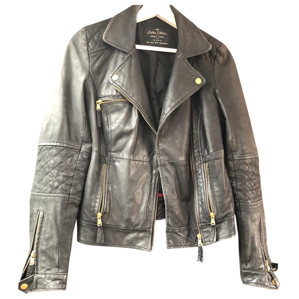 Zara \N Black Leather Leather jacket for Women 36 FR
