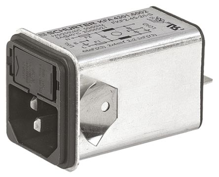 Schurter ,10A,125 V ac, 250 V ac Male Snap-In Filtered IEC Connector 4301.6005,Quick Connect 1, 2 Fuse