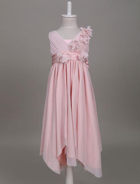 Milanoo Vestidos estilo Bohemia de niña de las flores Blush Pink Boho V cuello volantes plisados Vestido de fiesta del desgaste de los niños