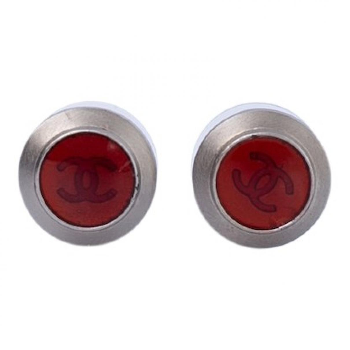 Chanel - Boucles doreilles CC pour femme en metal - rouge