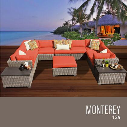 MONTEREY-12a-TANGERINE Monterey 12 Piece Outdoor Wicker Patio Furniture Set 12a with 2 Covers: Beige and