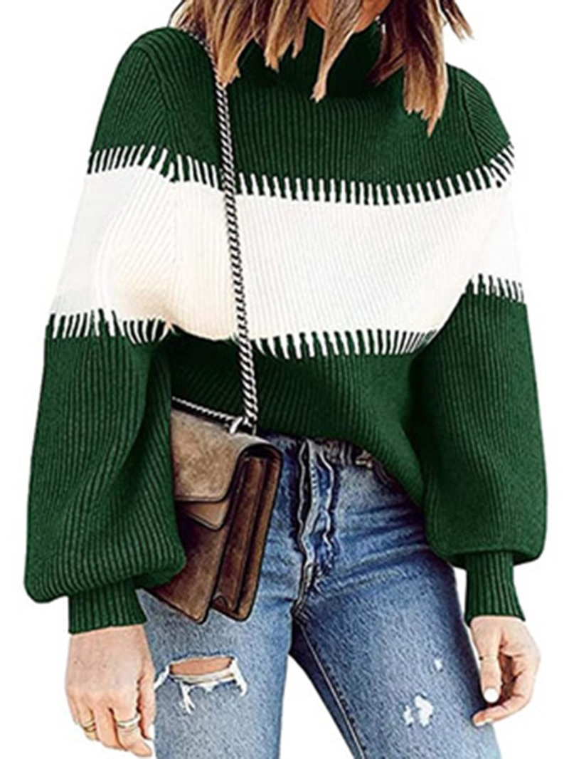 Ericdress Thick Lantern Sleeve Patchwork Turtleneck Standard Sweater
