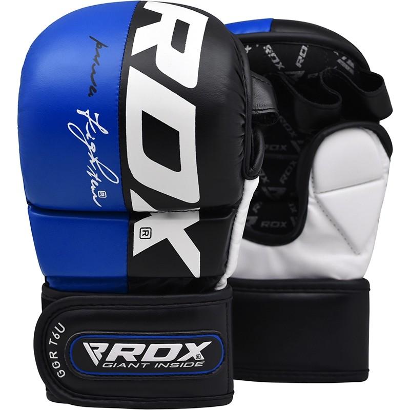 RDX T6  Sparring MMA Gloves PU Leather Medium Blue/White/Black