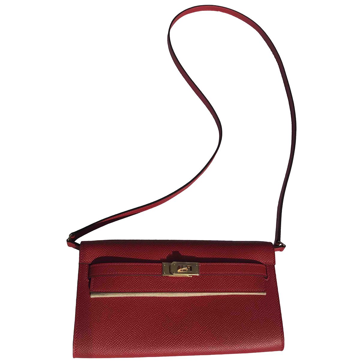 Hermes Kelly Mini Handtasche in  Rot Leder