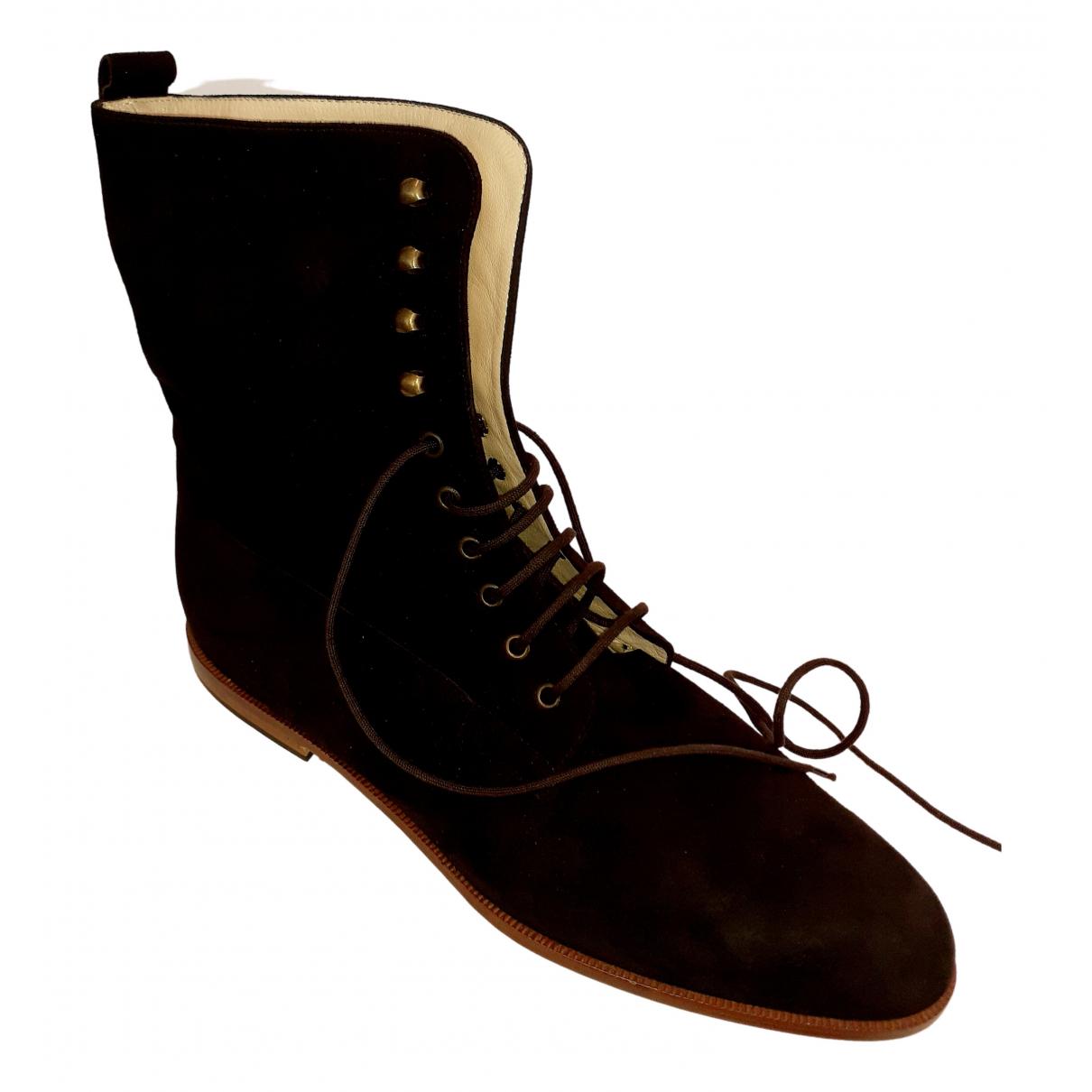 - Boots   pour femme en suede - marron