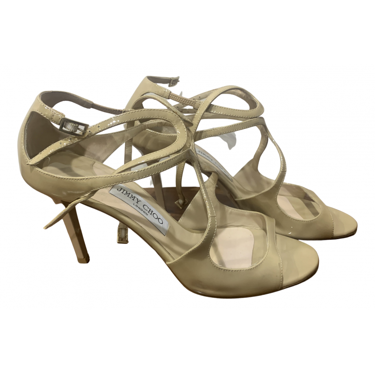 Jimmy Choo Lance Sandalen in  Beige Lackleder
