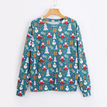 Pullover mit Weihnachten Muster und sehr tief angesetzter Schulterpartie