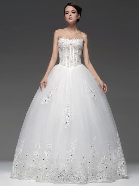 Milanoo Vestido de novia con escote palabra de honor