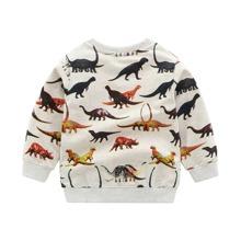 Sweatshirt mit Dinosaurier Muster und Strick Kragen