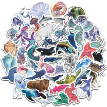 50pcs Marine Life Print Sticker