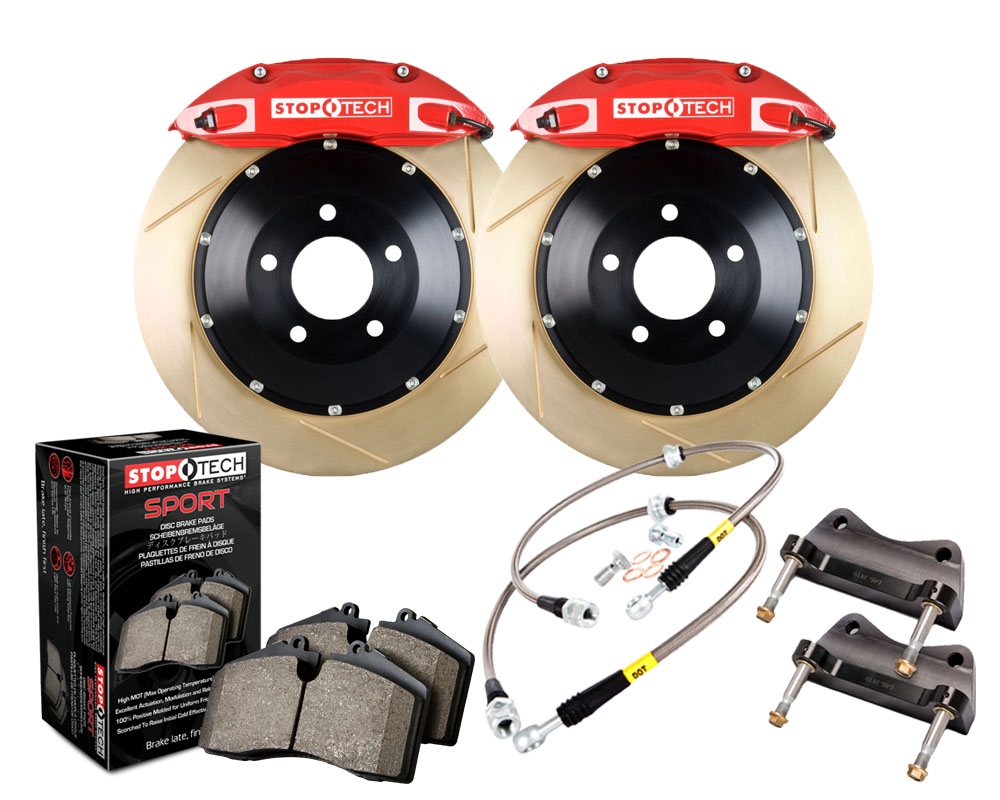 StopTech 83.138.4300.73 Big Brake Kit; Black Caliper; Slotted Two-Piece Rotor; Front Mini Cooper S Front 2002-2006