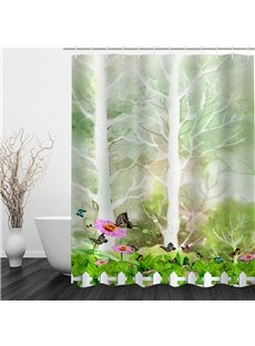 3D Butterflies Flowers and Tree Pattern Polyester Waterproof and Eco-friendly Shower Curtain