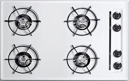 WNL053 30 Built-In Natural Gas Cooktop with Four 9000 BTU Open Burners  Electronic/Gas Spark Ignition  Recessed Top  Porcelain Enameled Steel Grates