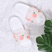Peach Print Clear Sliders