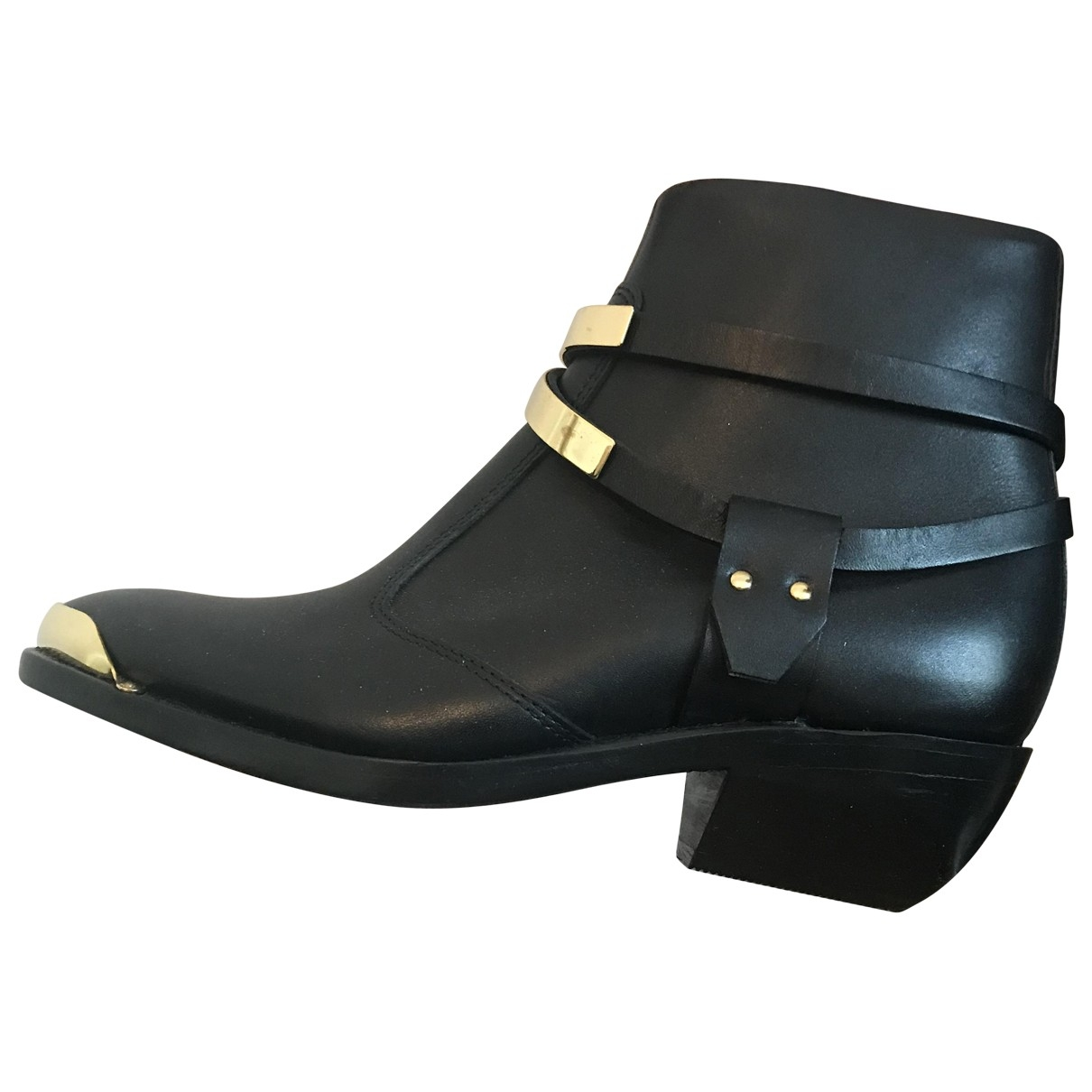 Balmain \N Black Leather Ankle boots for Women 36 EU