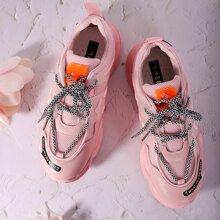 Sneakers mit Netzeinsatz und klobigem Absatz