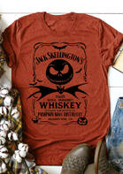 Presale - Halloween Pumpkin Bat Whiskey T-Shirt Tee - Orange