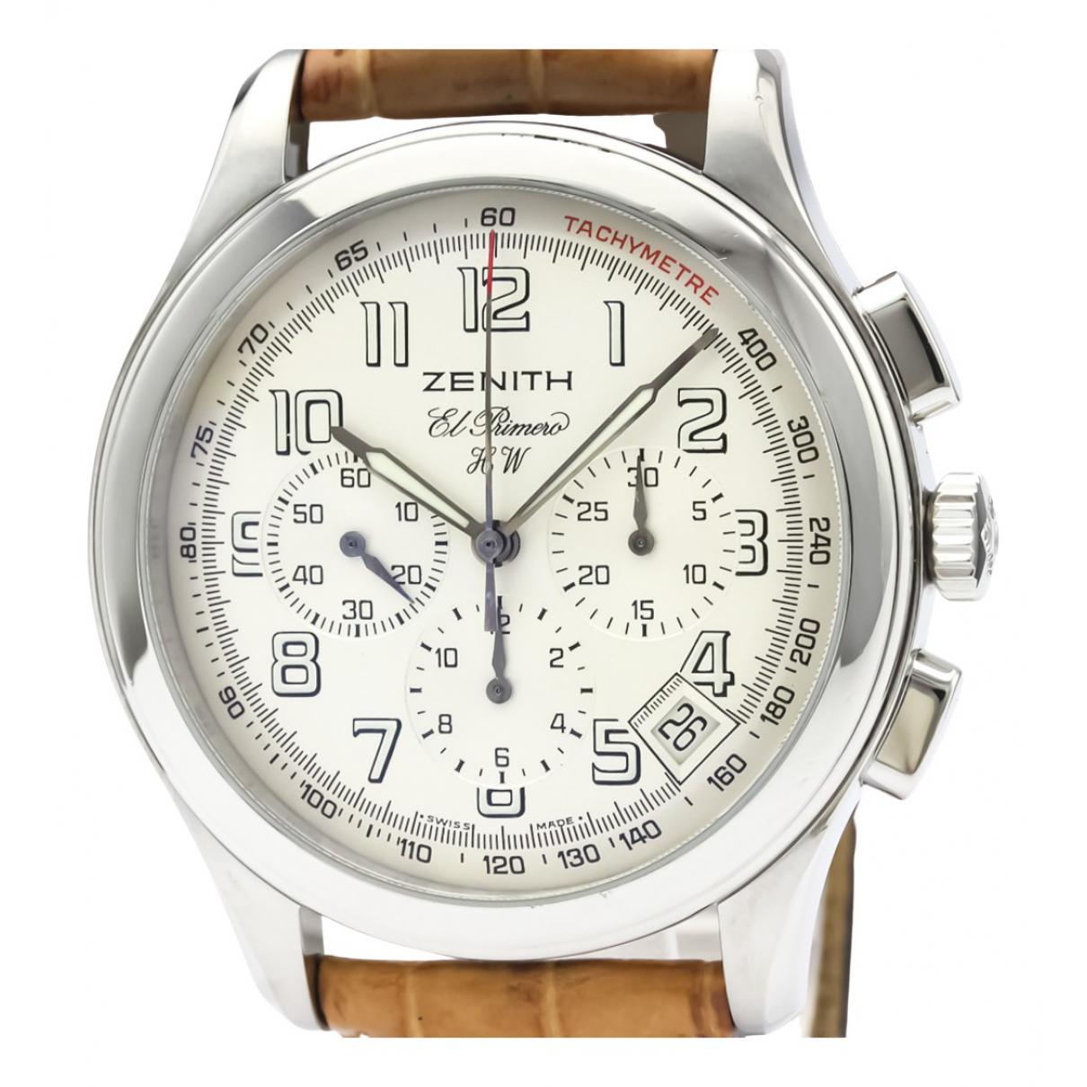 Zenith El Primero  Uhr in  Silber Stahl