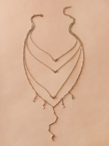 Rhinestone Star Layered Necklace