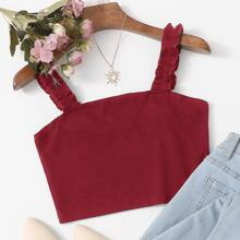 Solid Frill Strap Crop Top