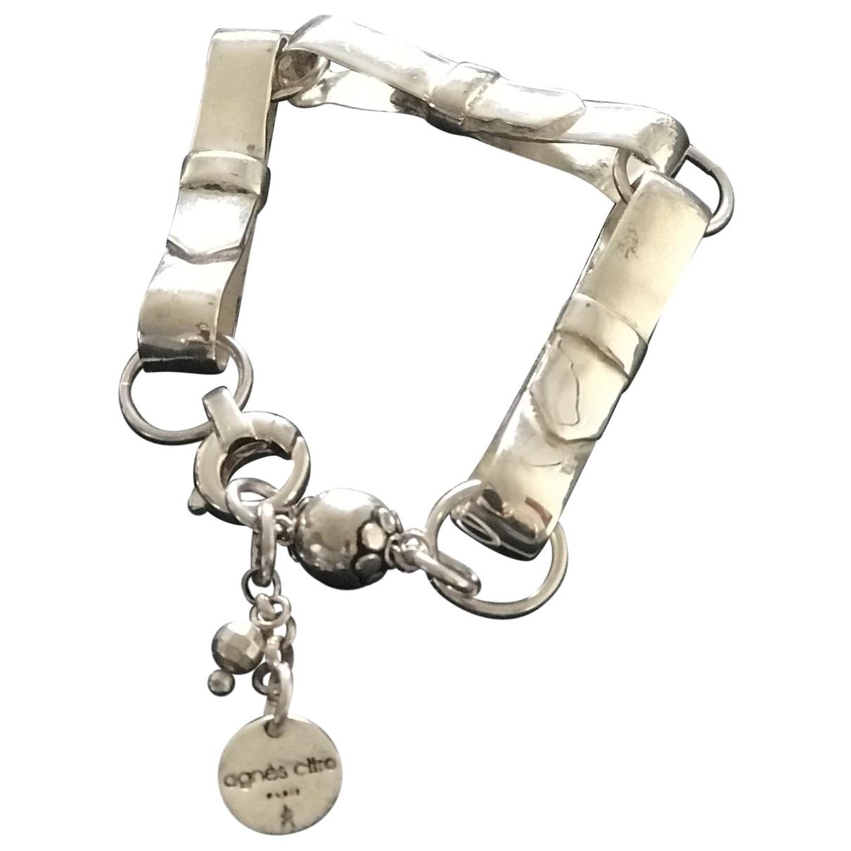 Non Signé / Unsigned \N White Silver bracelet for Women \N