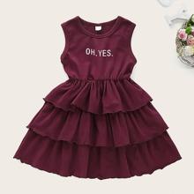 Kleinkind Maedchen Ärmelloses Kleid mit Buchstaben Muster