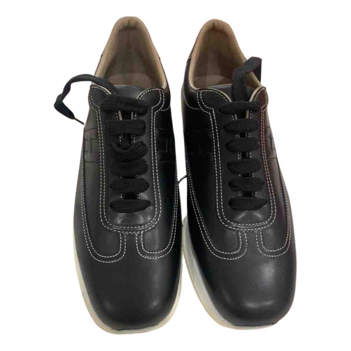 Hermes - Baskets   pour femme en cuir - noir