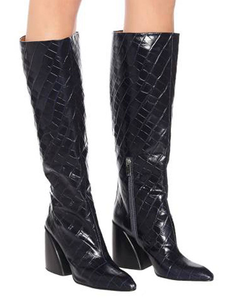 Milanoo Knee-High Boots PU Leather Black Pointed Toe Chunky Heel Retro Women\'s Boots