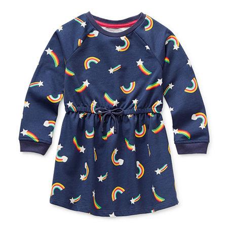Okie Dokie Toddler Girls Long Sleeve Swing Dresses, 2t , Gray