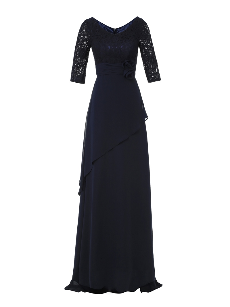 Ericdress A Line V Neck Half Sleeves Long Evening Dress