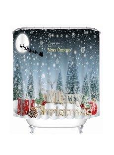 Aesthetic Snow Scene and Merry Christmas Printing Christmas Theme 3D Shower Curtain