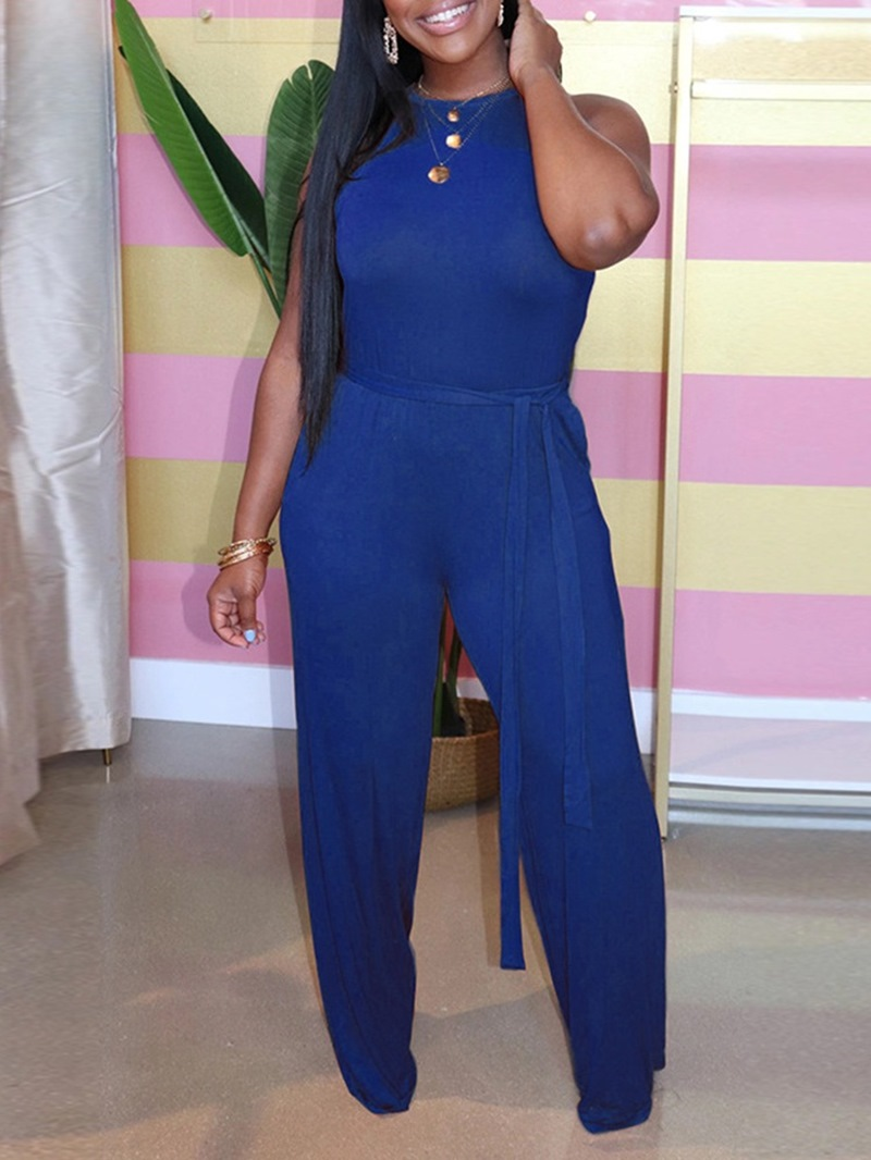 Ericdress Full Length Plain Western Straight Slim Jumpsuit