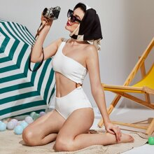 Textured Ring Linked One Shoulder One Piece Swimsuit