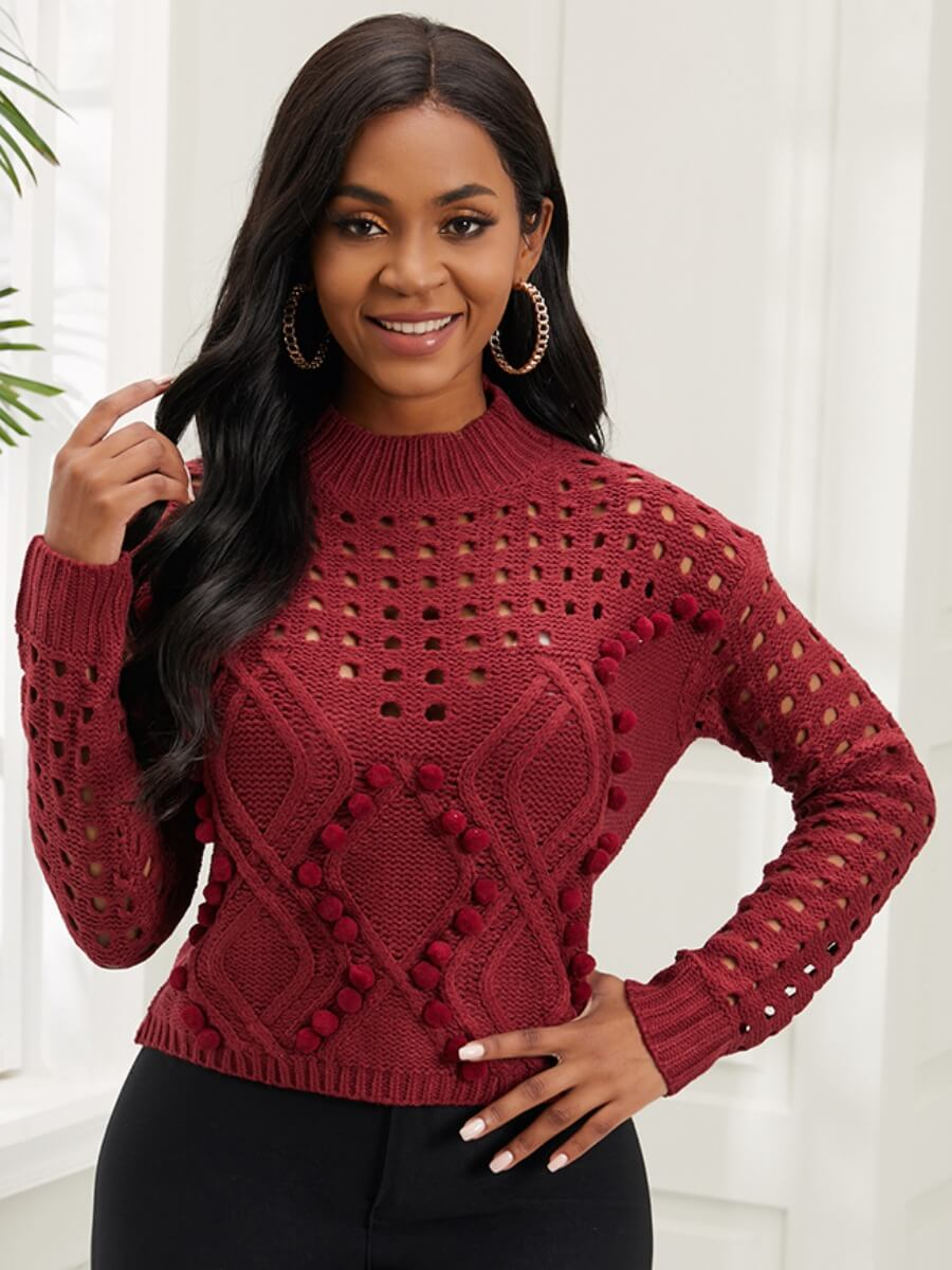 LW Lovely Street Dropped Shoulder Hollow-out Purplish Red Sweater