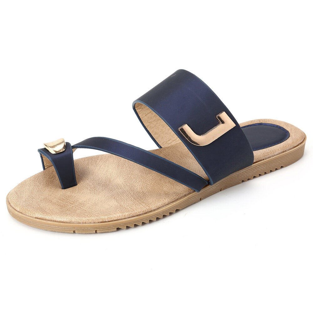 Women Metal Decor Comfy Non Slip Toe Ring Flip-flop Casual Beach Sandals
