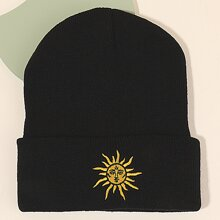 Guys Sun Embroidery Cuffed Beanie